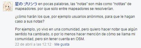 Comentario de Priscila en el grupo de OSM México en fb.